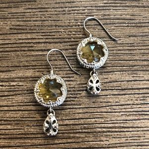 Silvertone Earrings with Citrine Yellow Gem Center